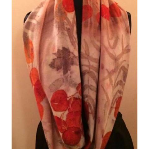 Eco printed Italian Merino wool infinity scarf