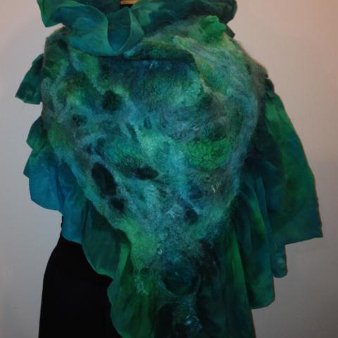 Nuno felted Merino and silk wrap