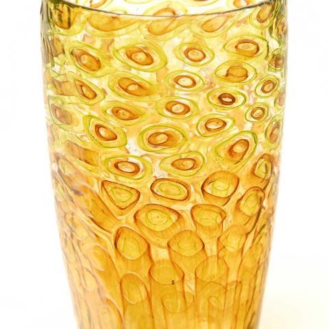 Amber/green mosaic vase