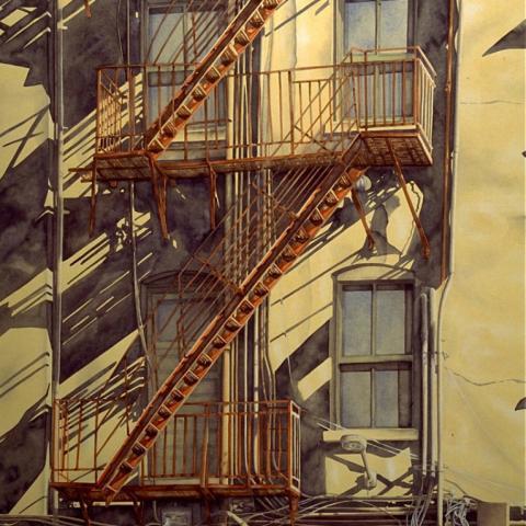 Seattle Fire Escape, watercolor/paper, 29x41