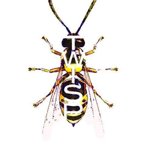 Twisp logo design - mixed media, 8x10