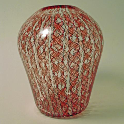 Red filigree vase