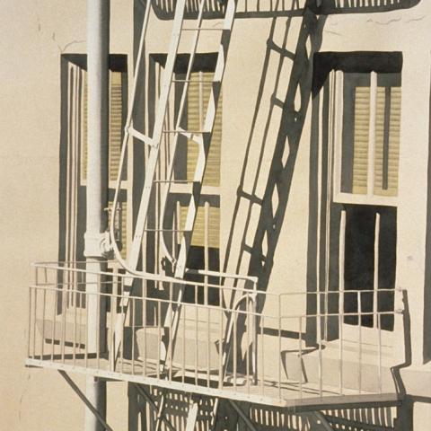 San Francisco Fire Escape - watercolor/paper, 27x38