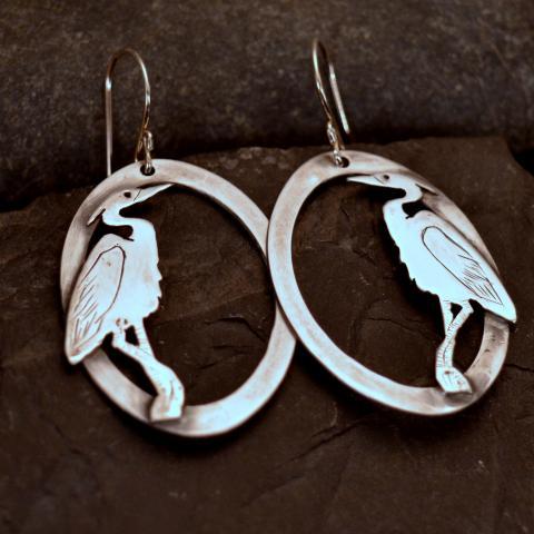 Heron Earrings from the Metal Menagerie Series