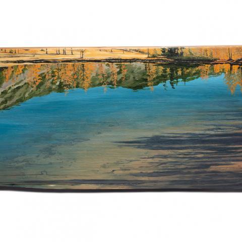 Desire Lines, acrylic on reclaimed wood, 15x35x2.5