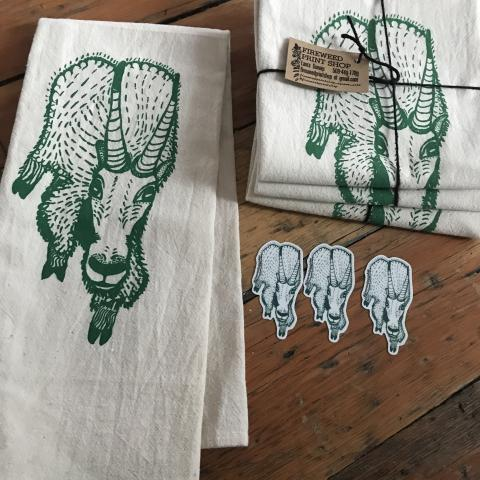 Mountain Goat tea towel and stickers