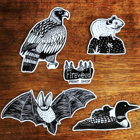 Fireweed Print Shop and Animal Stickers