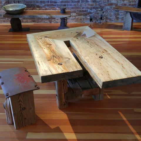 Pine Coffee Table and Companion Seat
