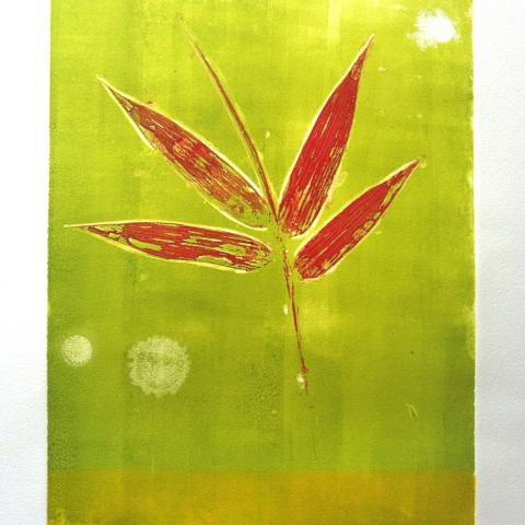 Red Bamboo; Monoprint