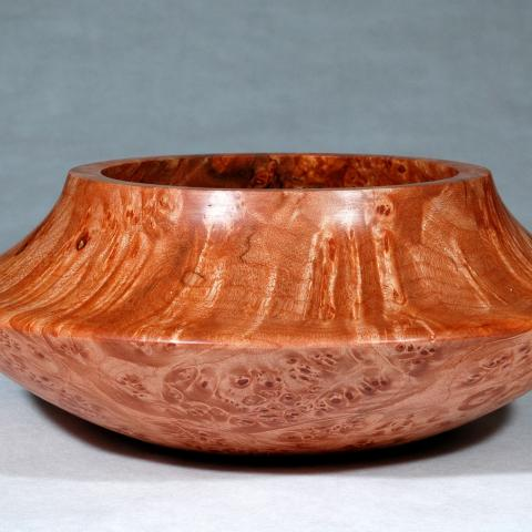 A maple burl bowl inspired by Acoma pottery.