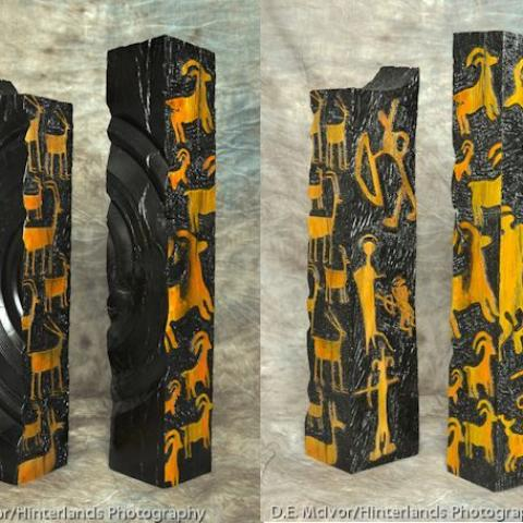 Hunters Towers. Live oak, dyes, pyrography.