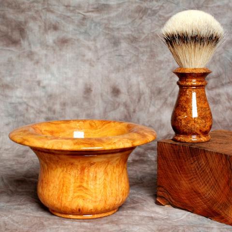 Amboyna burl shaving set.