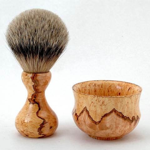 Spalted maple shaving brush and mustache wax bowl.