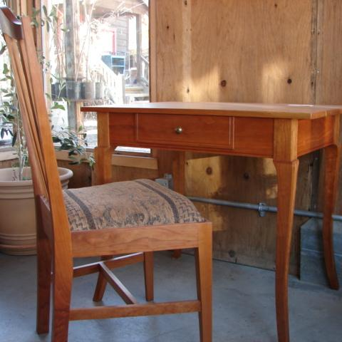 cherry writing table & chair