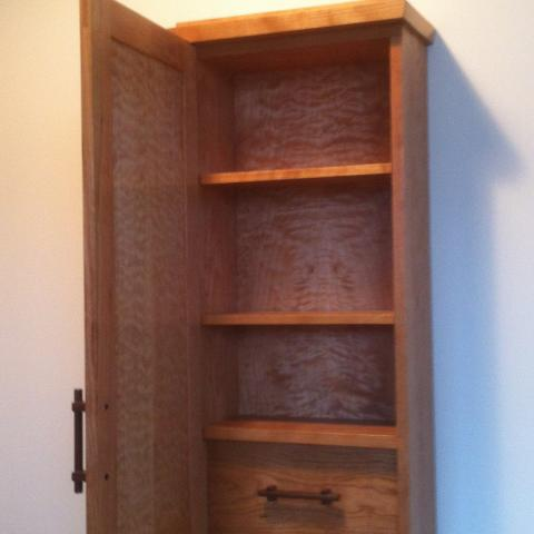 cherry & quilted maple spice cupboard