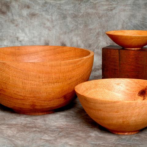 Nested bowls, silky oak