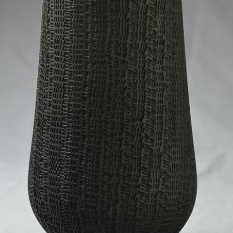pottery form, textured & dyed maple