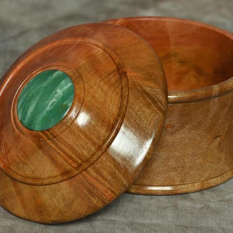 Keepsake box, chrysophrase & Australian hardwood